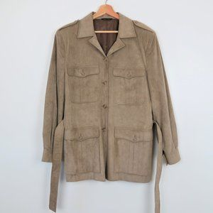 Vintage 70s Men's Tan Faux Suede Utility Jacket